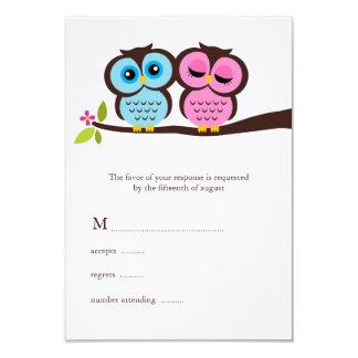 El casarse azul y rosado de los búhos invitación 8,9 x 12,7 cm