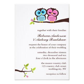 El casarse azul y rosado de los búhos invitación 12,7 x 17,8 cm