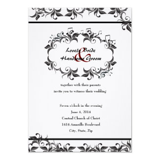 El casarse blanco negro elegante de las hojas de invitacion personalizada