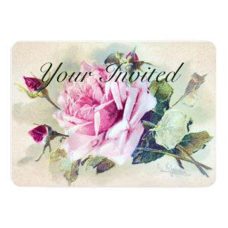 El casarse color de rosa hermoso de las flores invitación 12,7 x 17,8 cm