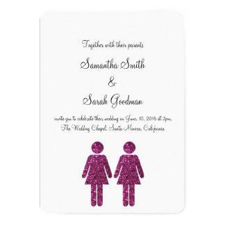 El casarse de dos chicas invita invitación 12,7 x 17,8 cm