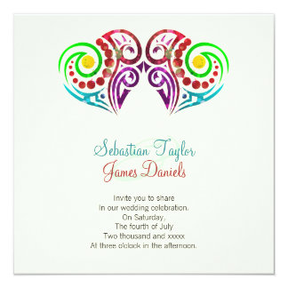 El casarse de dos corazones invitación 13,3 cm x 13,3cm