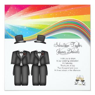 El casarse de dos novios invitación 13,3 cm x 13,3cm