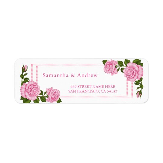 El casarse de la esquina rosado bonito de los etiqueta de remitente