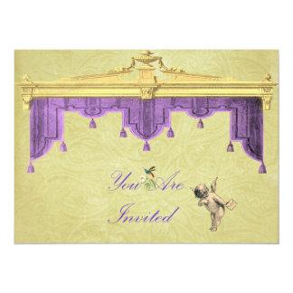 El casarse de las cortinas del teatro invita invitación 13,9 x 19,0 cm