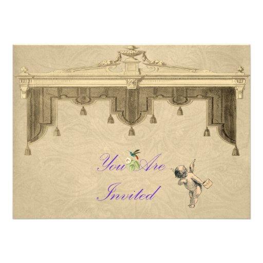El casarse de las cortinas del teatro invita anuncio personalizado