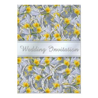 El casarse de las herraduras de la plata del iris invitación 12,7 x 17,8 cm