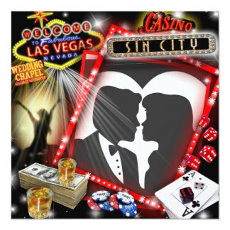 El casarse de Las Vegas invita Invitación 13,3 Cm X 13,3cm