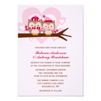 El casarse de los búhos del invierno invitación 12,7 x 17,8 cm