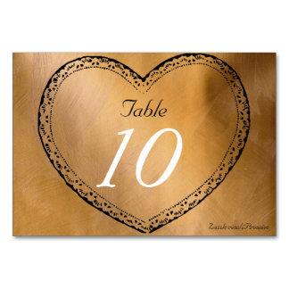 El casarse de los corazones del cobre del número tarjeta