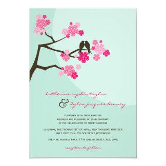 El casarse de los pájaros del amor de Sakura de Invitación 12,7 X 17,8 Cm