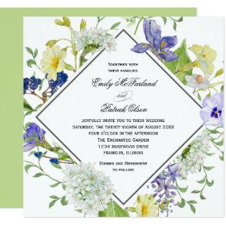El casarse de los Wildflowers de Boho del jardín Invitación 13,3 Cm X 13,3cm