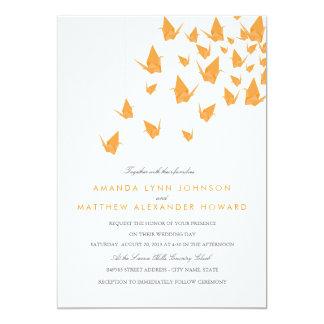 El casarse de papel de las grúas de Origami Invitación 12,7 X 17,8 Cm