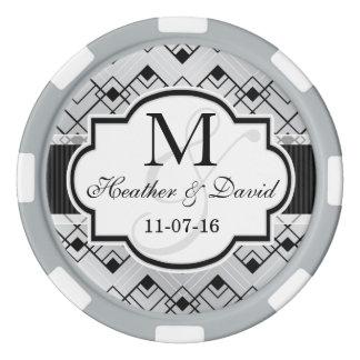 El casarse de plata y negro del art déco juego de fichas de póquer