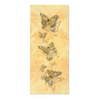 El casarse del compromiso del melocotón del oro invitación 10,1 x 23,5 cm