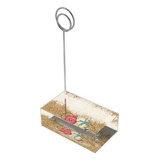El casarse del hibisco y de las cáscaras de la soportes para tarjetas de mesa