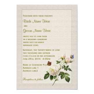 El casarse del rosa blanco y de las mariposas del invitación 12,7 x 17,8 cm