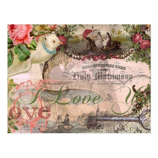 El casarse del vintage del collage de la boda postal