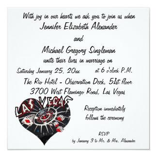 El casarse elegante de Las Vegas Invitación 13,3 Cm X 13,3cm