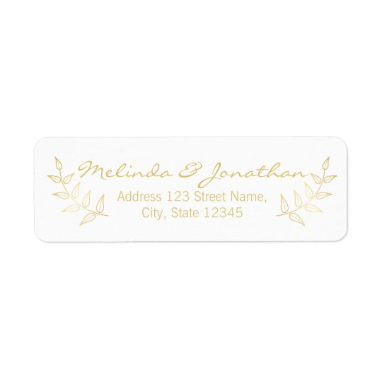 El casarse elegante de los laureles del oro etiqueta de remitente