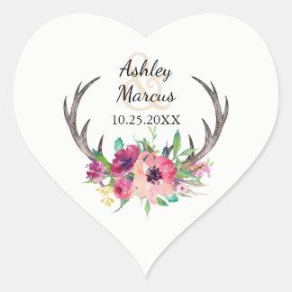 El casarse floral rústico de las astas de Boho Pegatina En Forma De Corazón