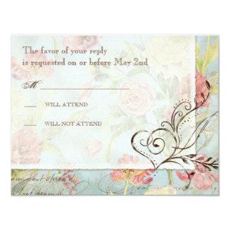El casarse floral subió Peony de las flores del Invitación 10,8 X 13,9 Cm