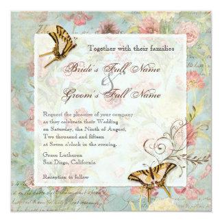 El casarse floral subió Peony de las flores del Invitación 13,3 Cm X 13,3cm