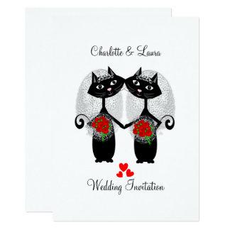 El casarse fresco de los gatos del matrimonio invitación 12,7 x 17,8 cm