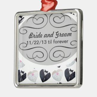 El casarse hasta el forever <3 adorno navideño cuadrado de metal