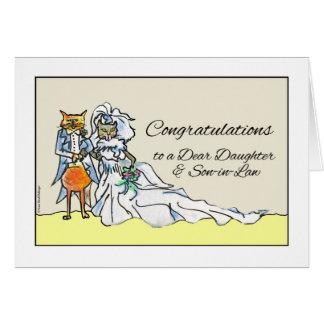 El casarse, hija y yerno de la enhorabuena tarjeta de felicitación