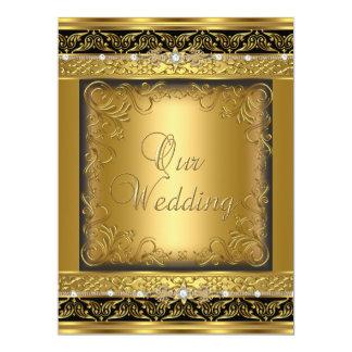 El casarse invita al diamante negro del oro