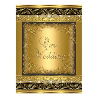 El casarse invita al diamante negro del oro metáli