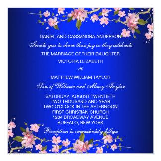 El casarse japonés de las flores de cerezo del invitación 13,3 cm x 13,3cm