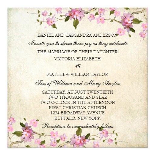 El casarse japonés rosado de las flores de cerezo invitacion personal