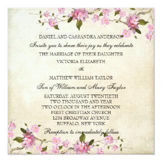 El casarse japonés rosado de las flores de cerezo invitación 13,3 cm x 13,3cm