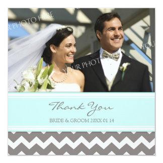 El casarse le agradece gris azul Chevron de las Invitación 13,3 Cm X 13,3cm