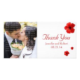 El casarse le agradece tarjeta de la foto tarjeta fotografica personalizada
