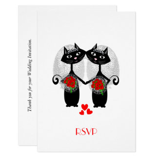 El casarse lindo de las novias del gato fresco invitación 8,9 x 12,7 cm