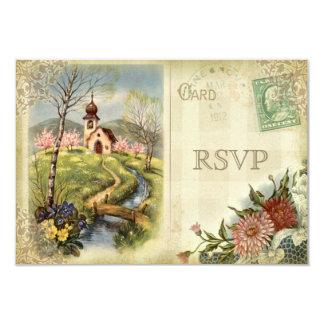 El casarse lindo de RSVP de la iglesia del vintage Invitación 8,9 X 12,7 Cm