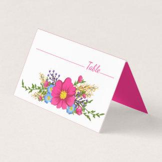 El casarse magenta de las flores de la acuarela tarjeta de asiento