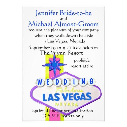 El casarse moderno de Las Vegas Invitaciones Personalizada