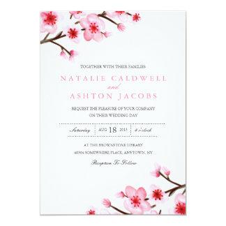 El casarse pintado de las flores de cerezo invita invitación 12,7 x 17,8 cm