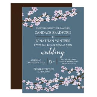 El casarse pintado de las flores de cerezo invitación 12,7 x 17,8 cm