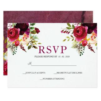 El casarse profundo de RSVP del ramo floral de los Invitación 8,9 X 12,7 Cm