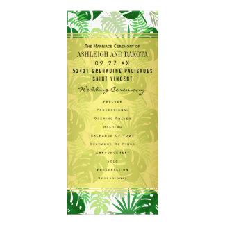 El casarse programa las hojas tropicales verdes tarjeta publicitaria