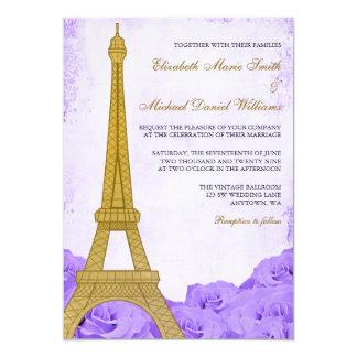 El casarse púrpura de los rosas de la torre Eiffel Invitación 12,7 X 17,8 Cm