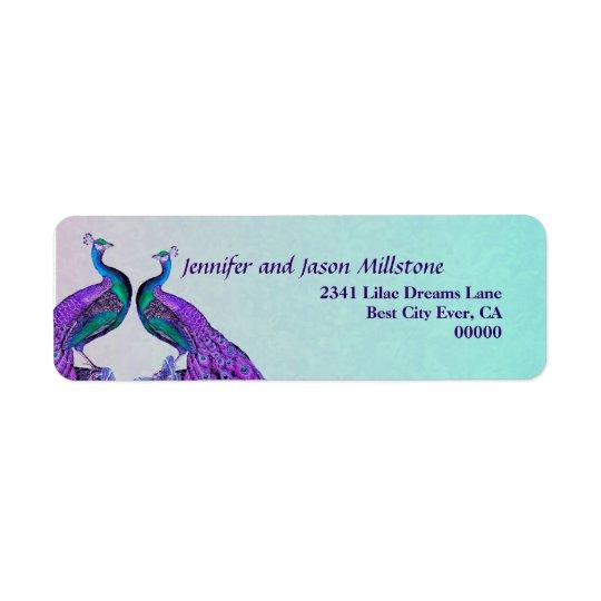 El casarse púrpura y verde azulado de los pavos etiqueta de remitente
