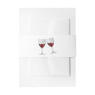 El casarse rojo de las copas de vino de Borgoña Cintas Para Invitaciones
