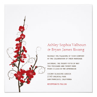 El casarse rojo de los remolinos de Sakura de las Invitación 13,3 Cm X 13,3cm
