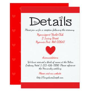 El casarse rojo y blanco de las direcciones/de los invitación 11,4 x 15,8 cm